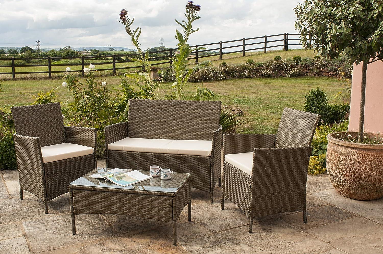 Comfy Living Rattan Garden Furniture Set Patio Funiture 6 Peice Set in Brown