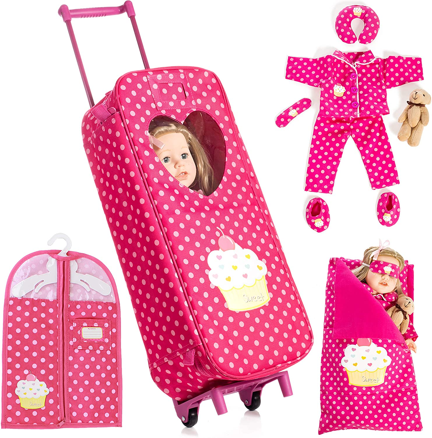 Beverly Hills Doll Collection 8 Piece Doll Traveling Trolley Set fits 18