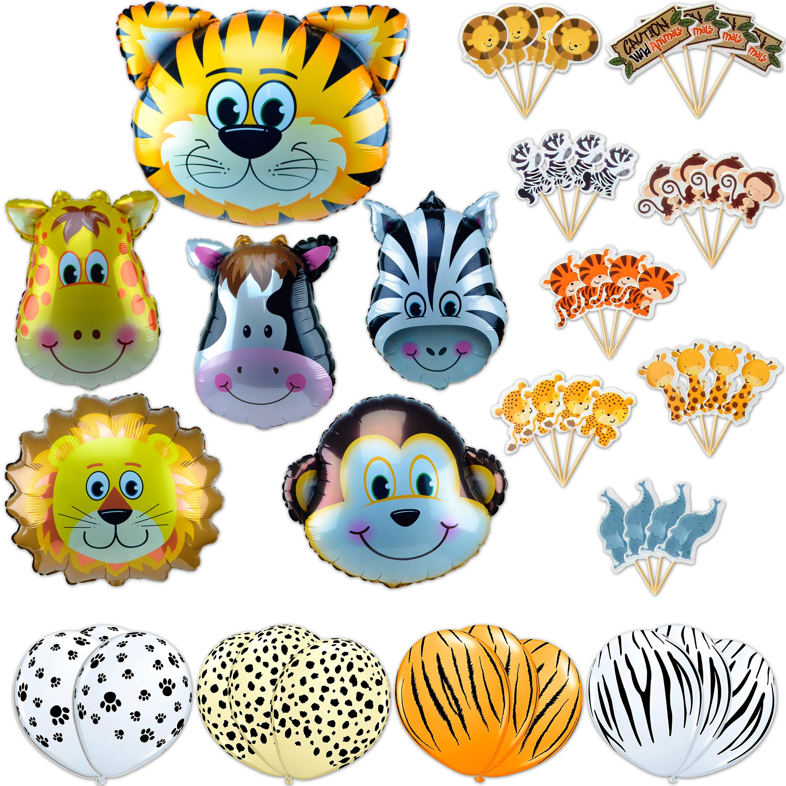 Jungle Animals Foil Latex Balloons Birthday Party Decorations Lion Tiger Monkey Zebra Giraffe Cow SAFARI ZOO Cupcake Toppers Pack of 34