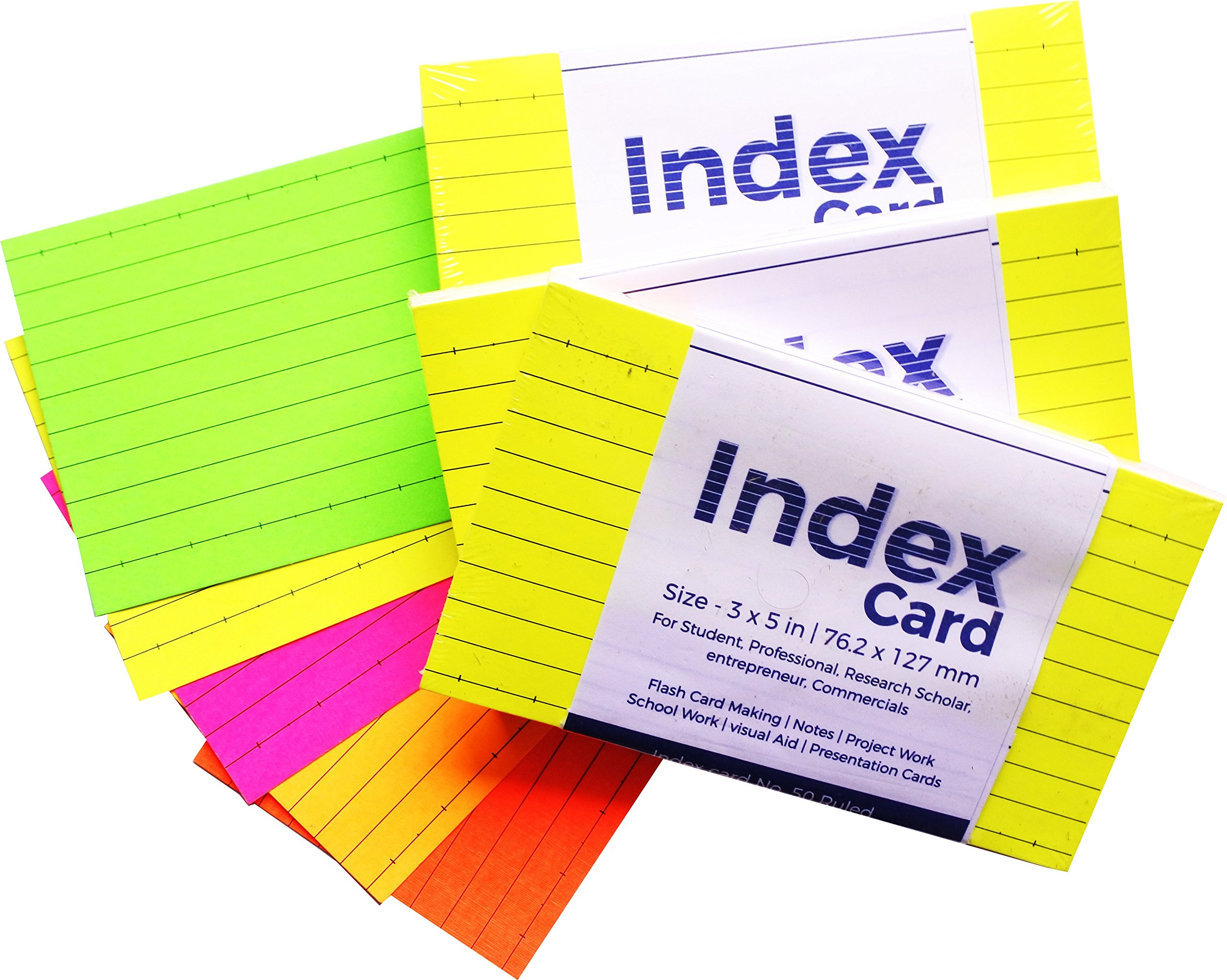 N N Innovation Index Card (3x5 Inch) Ruled Flash Card with Five Colors 76.2x127mm, 3 Sets (50 Cards x 3 Sets = 150 Cards) product image