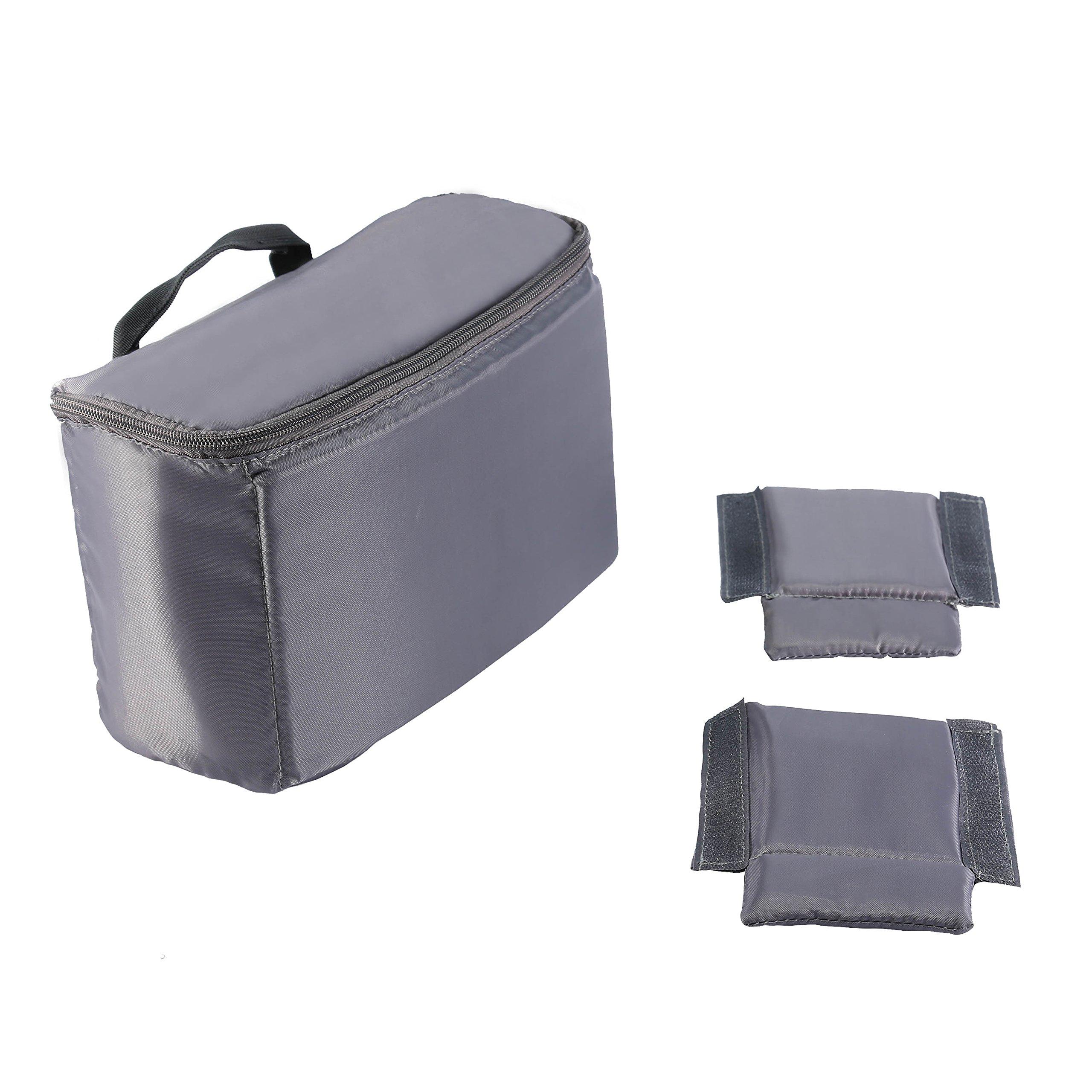 Camára Bolsa Bandolera Vintage de Lona Protector para 1 Cámara Digitales DSLR con 2 Lentes para Canon Sony Nikon Olympus de Viajes (Gris)