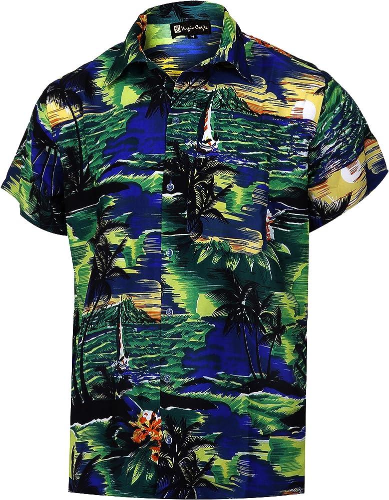 Virgin Crafts Pulsante uomo Giù Hawaiana Manica Corta Piccola Palma Bambini Stampa Summer Vacation, Bluem, XS | Busto: 36