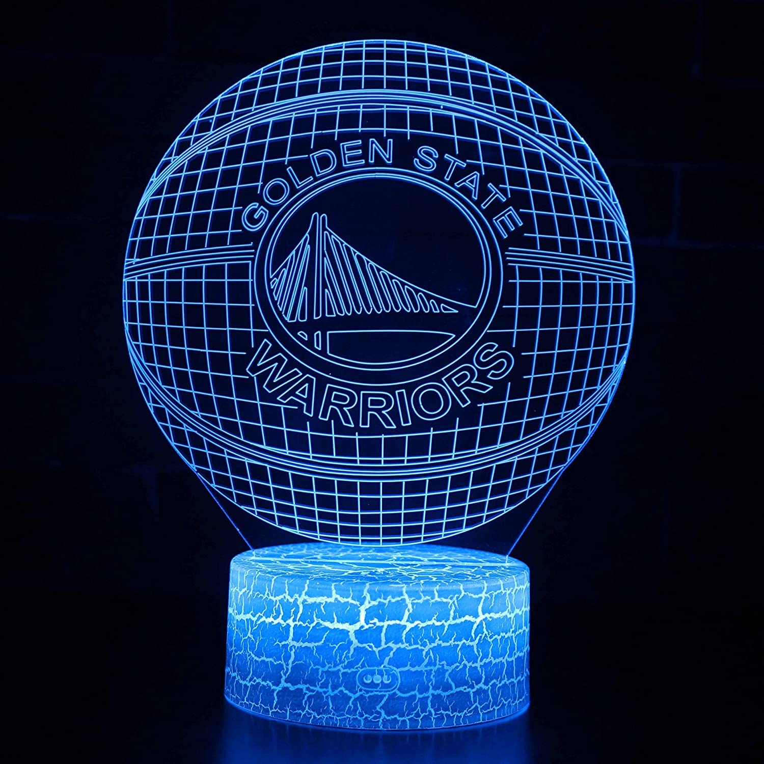 Warriors LED NBA Team 3D Optical Illusion Smart 7 Colors Night Light Table Lamp with USB Power Cable