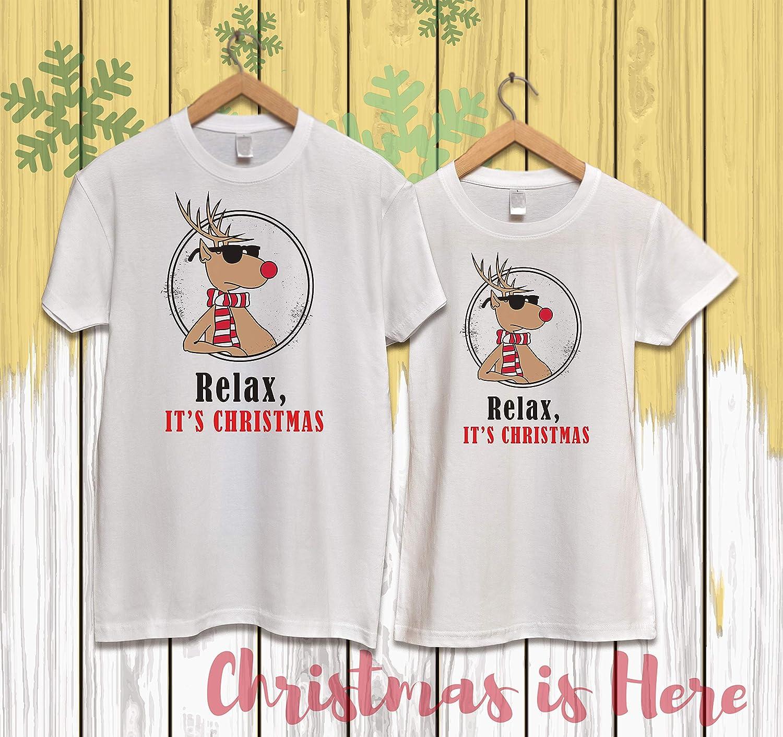 VIVAMAKE® Pack 2 Camisetas de Navidad para Mujer y Hombre Originales con Diseño Relax, Its Christmas: Amazon.es: Ropa y accesorios