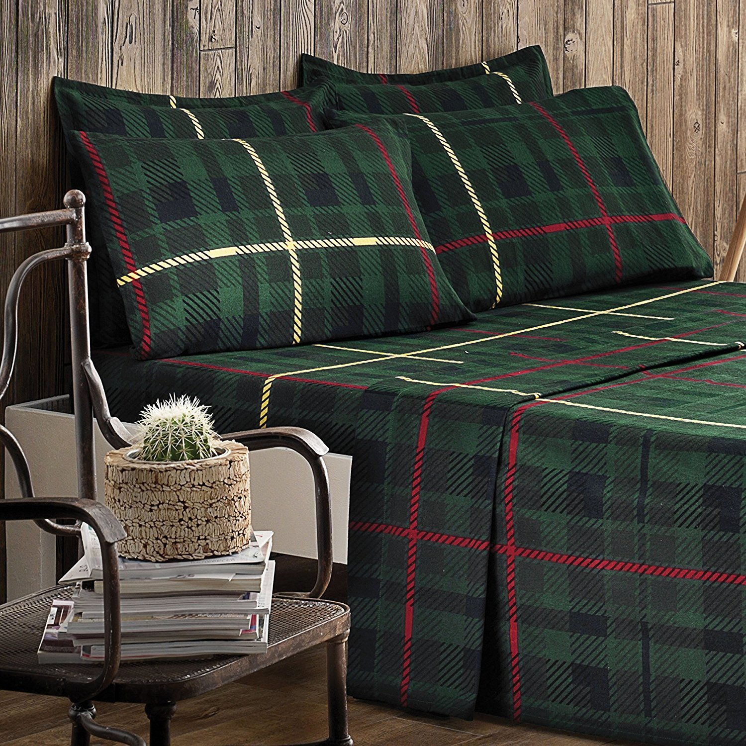 100 Percent Cotton Green Plaid Flannel Sheets | 6 Pieces Bed Sheet Set | For Men And Women| 1 Flat and 1 Fitted Sheets, 2 Pillow Cases, 2 Shams | Organic and Soft | Premium Collection (King)