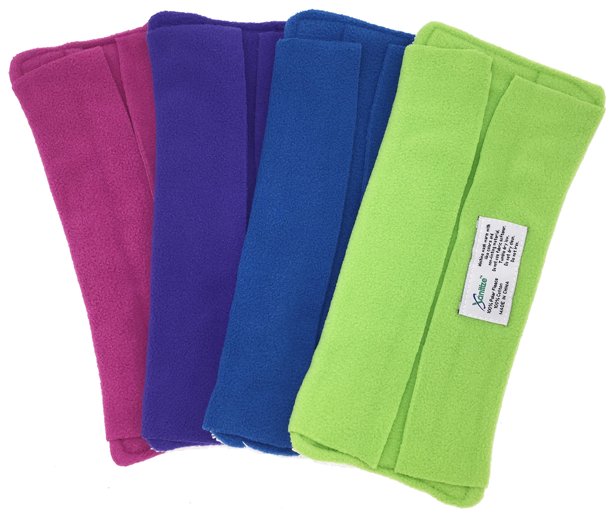 Wet Mop Pads for Sweeper - 2 Sided Fleece & Terry Cloth - Washable Reusable by Xanitize (4-Pack) (Standard, Purple, Blue, Green, Pink)