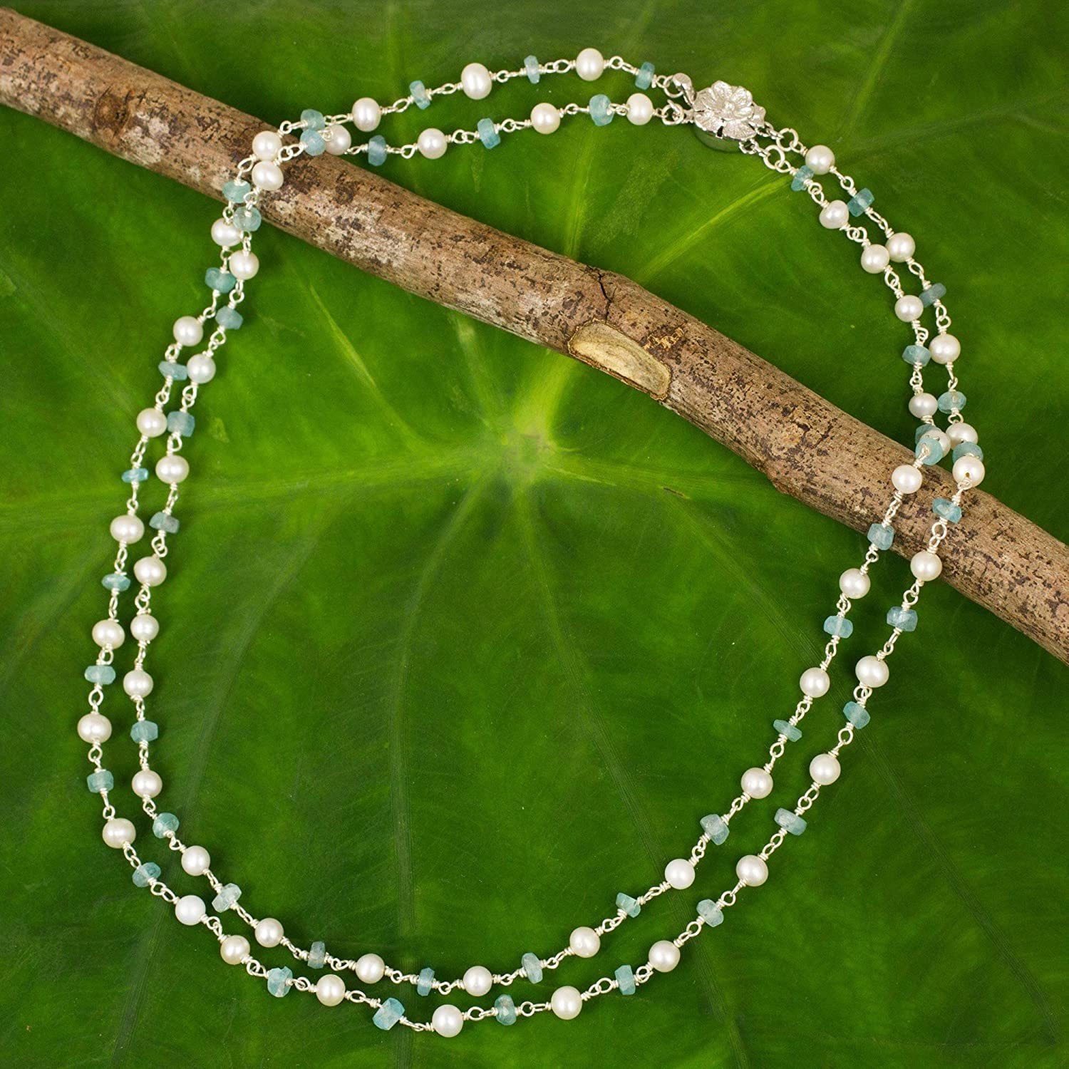 NOVICA Apatite Cultured Freshwater Pearl .925 Sterling Silver Necklace 16.75 Regal Water Lily
