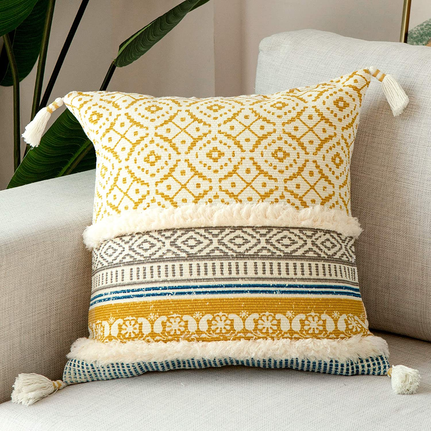 blue page Boho Tufted Decorative Throw Pillow Covers for Couch Sofa Bed - Modern Moroccan Style Pillow Cases with Tassels, Accent Decor Pillow for Bedroom Living Room, 18x18 Inches, Yellow
