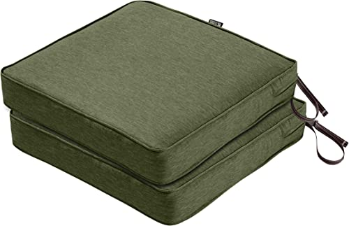 Classic Accessories Montlake Water-Resistant 19 x 19 x 3 Inch Patio Cushions, 2-Pack, Heather Fern Green