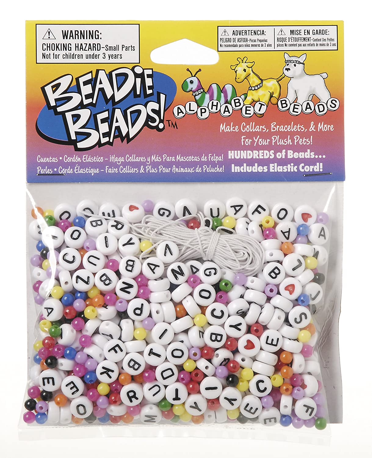 Amazon.com: Darice BAB-15 Black and White Alpha Bead Starter Kit with Multicolored Space Beads: Arts, Crafts & Sewing