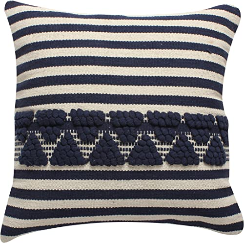 ThymeHome Nirvana Navy Blue Cotton Hand Woven Pillow -100 Cotton Decorative Accent Pillows 18 x18 Natural