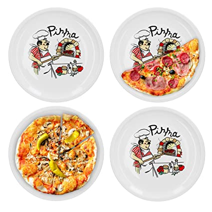 Set di 4 piatti da pizza Van Well con decorazione Chef: Amazon.it ...