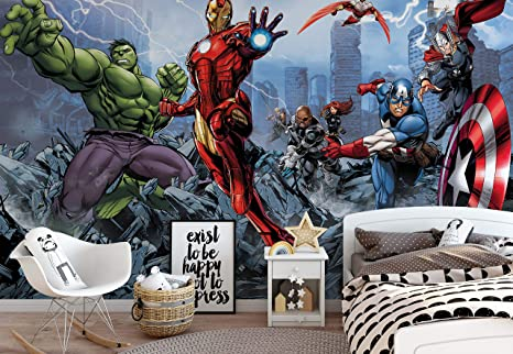 3a76a6cf774 Marvel Avengers - Photo Wallpaper - Wall Mural - Giant Wall Poster - XL -  254cm x 184cm - Standard Paper (NOT EasyInstall) - 2 Pieces: Amazon.co.uk:  Kitchen ...