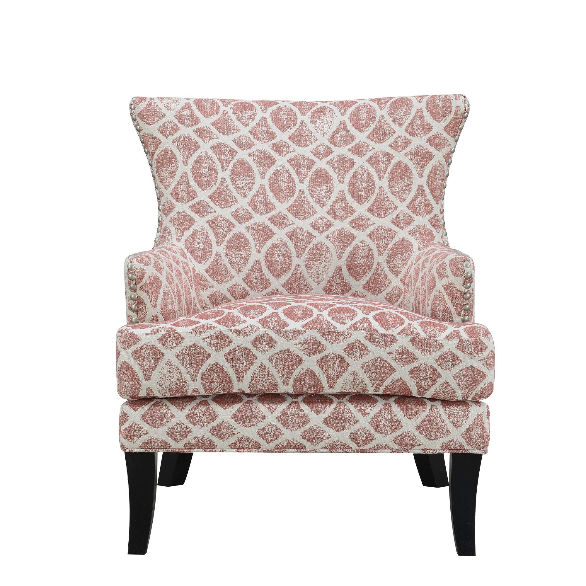 Viv Accent Chair in Pink with Graphic Upholstery And Nailhead Trim, by Artum Hill