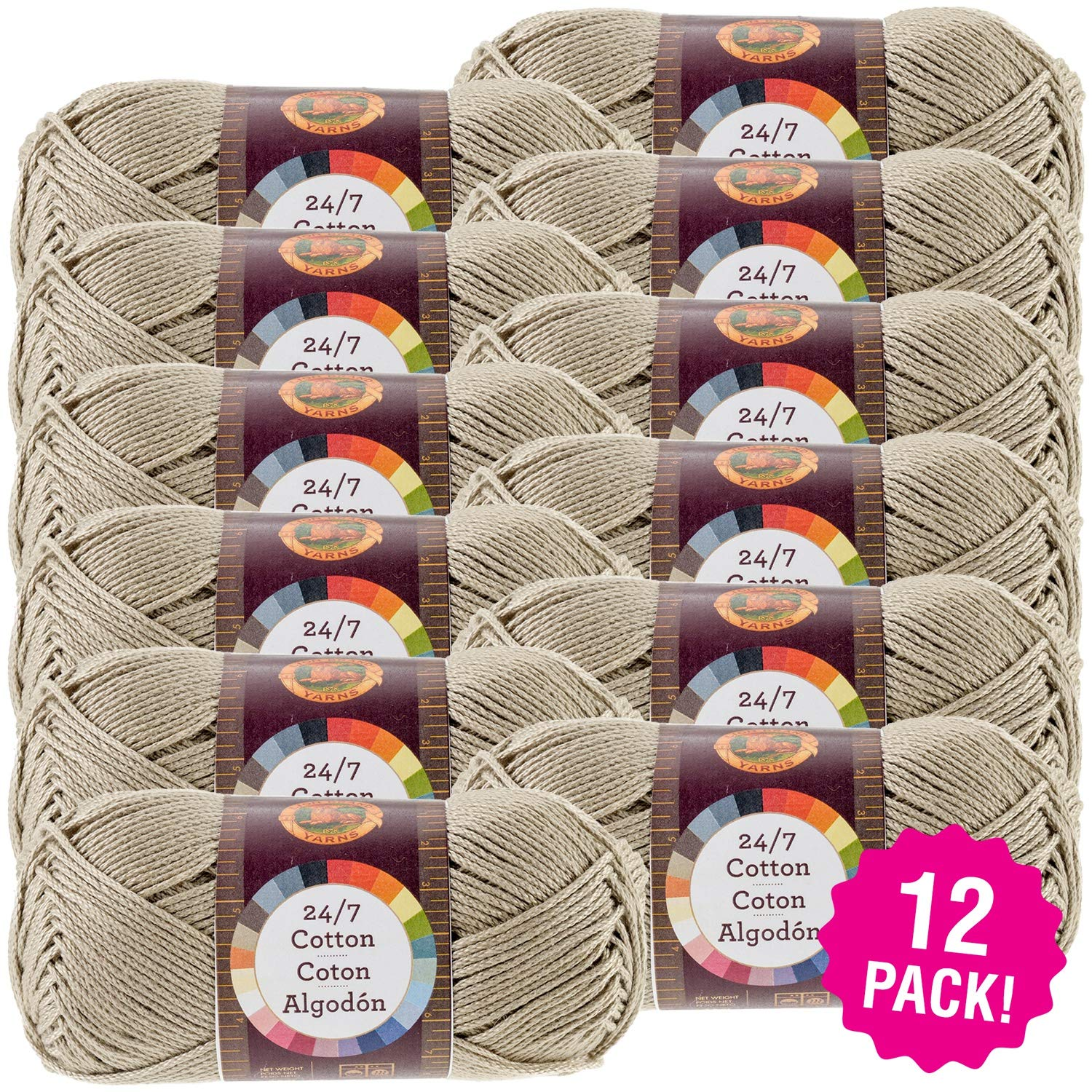 Lion Brand 98678 24/7 Cotton Yarn-12/Pk-Taupe, 12/Pk, Taupe Pack
