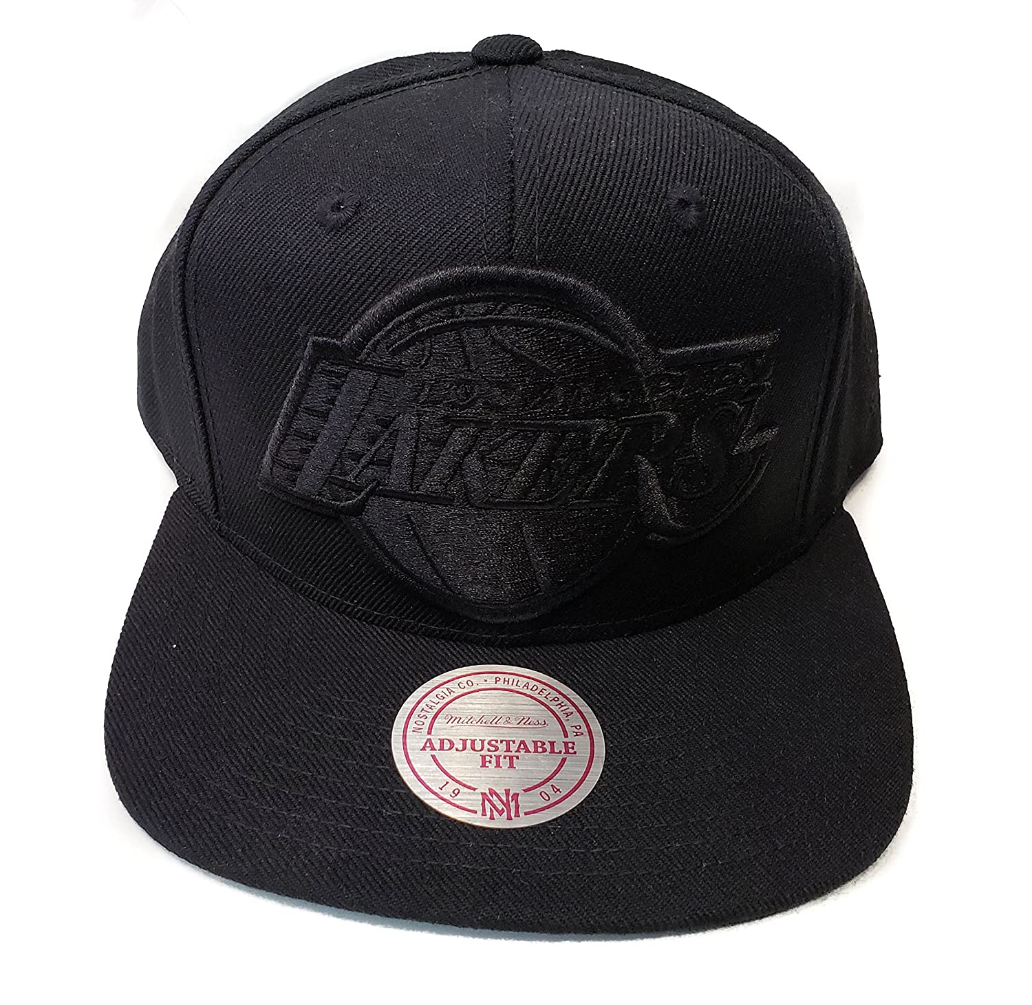 f42020d5 Amazon.com : Mitchell & Ness Los Angeles Lakers Classic Solid Wool Black &  Black Logo Vintage Adjustable Snapback Hat NBA : Sports & Outdoors