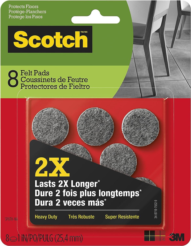 Scotch Heavy Duty Felt Pads, Round, Gray, 1-Inch Diameter, 8 Pads/Pack (SP870-NA)