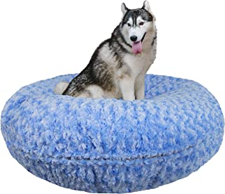 product image for Bessie and Barnie Signature Blue Sky Extra Plush Faux Fur Bagel Pet / Dog Bed (Multiple Sizes)