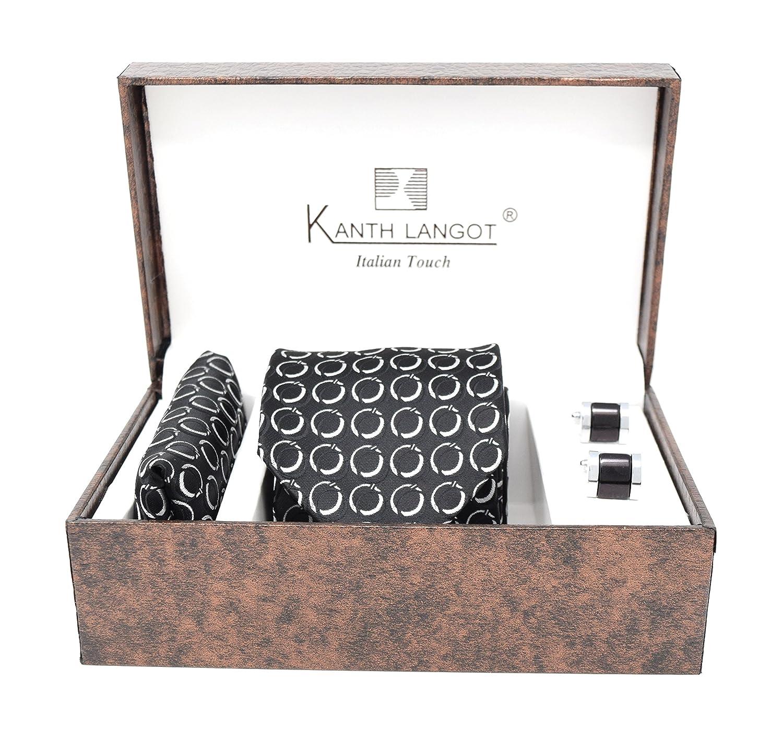 Kanthlangot Jacquard Black White Self Design Tie Pocket Square And Black Cufflinks Set