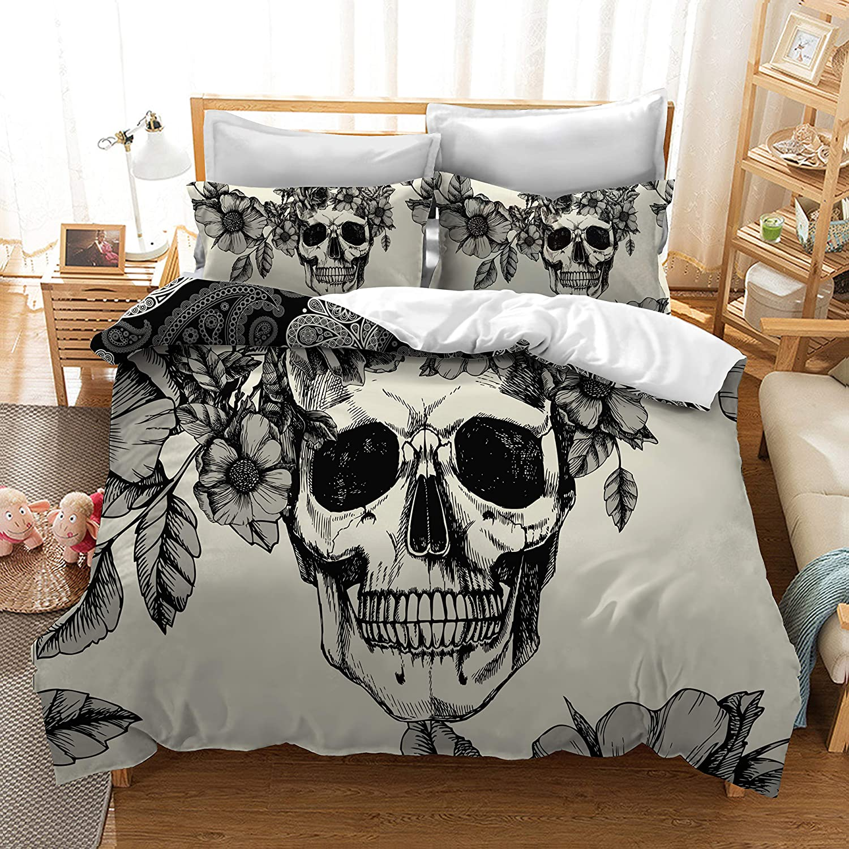Mrbaby Death Moth Skull Bedding Sets 3pc Duvet Cover Sets King Size (King)