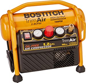 BOSTITCH Air Compressor for Trim, Oil-Free, High-Output, 1.2 Gallon, 120 PSI