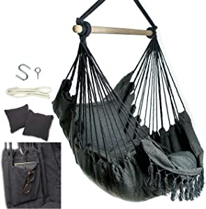Mauv Macrame Hanging Hammock Chair - Bedroom Hammock Swing - Outdoor / Indoor Swing - Boho Decor - Swinging Porch Seat - with Personal Pocket - Cushions Included - Charcoal Grey