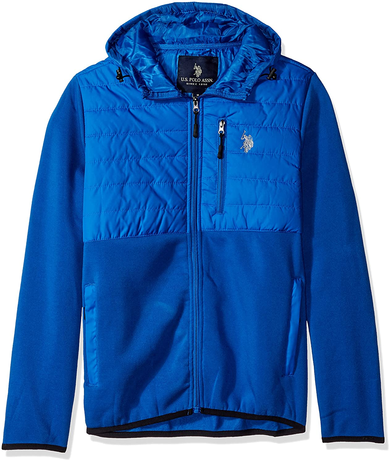 U.S. Polo Assn. Mens Mixed Channel Quilt and Fleece Hoodie 10-6375-K5