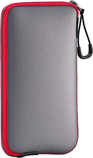 ONEJOY Cell Phone Pouch, Waterproof Case, Pouch Bag, Sport Bag Mini, Sports Cases with Zipper AJ10-5328 Grey with Red Zipper, 17cm x 9cm, for Cell Phone.