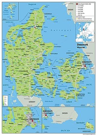 dänemark karte Wandkarte, physische Karte von Dänemark, laminiertes Papier [GA