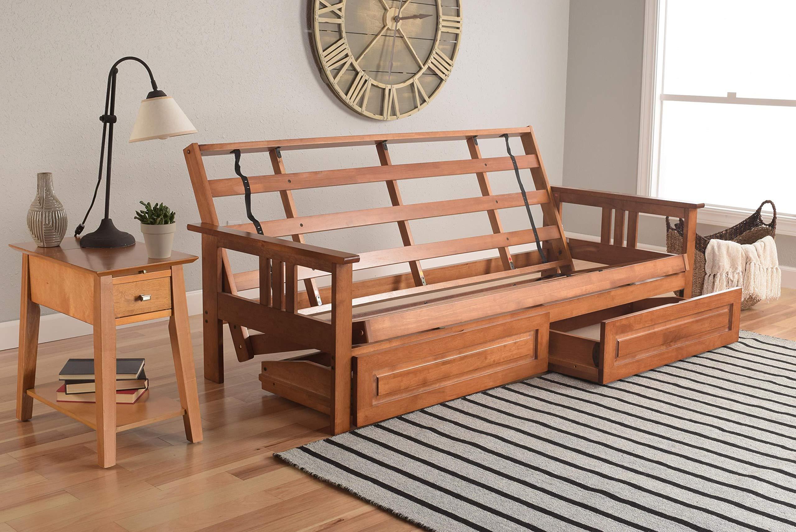 Monterey Futon Sofa in Barbados Finish with Storage Drawers by Kodiak Futons