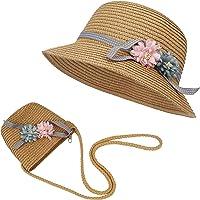 FT-SHOP Sombrero de Paja Niñas Gorra de Sol Chica y Bolsillo Set con Decoracion de Flores Gorro de Playa para Viaje…