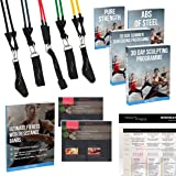 Resistance Bands Set for Home Exercise, Strength Training, Yoga, Pilates, Mobility, Crossfit and Overall Fitness 5 Exercise Bands with Scaled Resistance Levels for an Amazing Workout