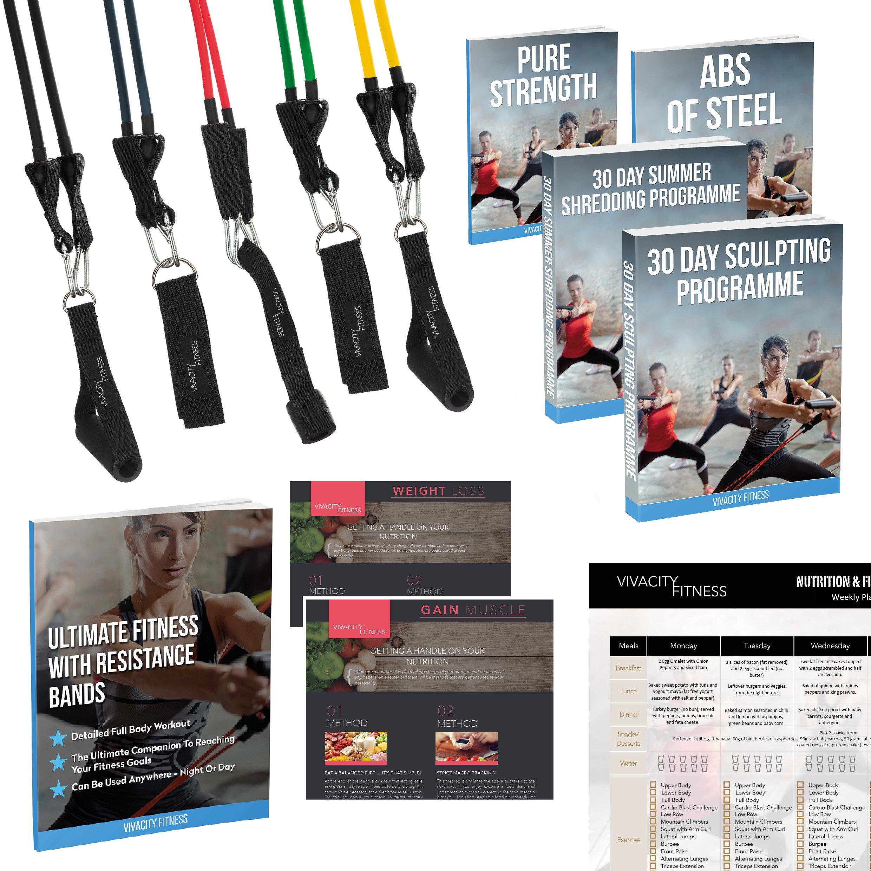 Bandes de résistance élastique avec guide d exercices et vidéothèque - 5  tubes en latex fd361db7a61