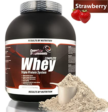 Triple Whey Protein Powder Premium Complete Supplements (Strawberry, 2,27kg)