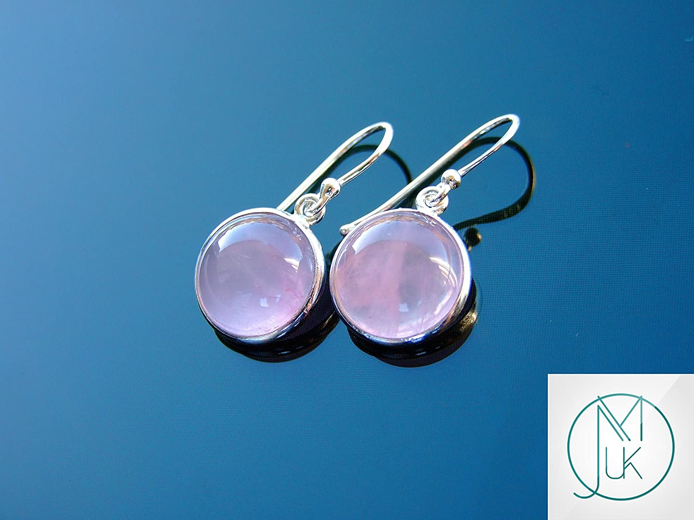 Rose Quartz Gemstone Irregular Shaped 925 Sterling Silver Earrings Gift Jewelry
