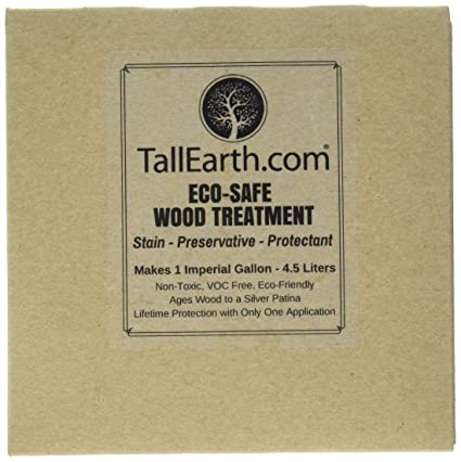 Tall Earth TEESWT1G Eco-Safe Wood Treatment, Stain and Preservative, 1/3/5  gal, Non-Toxic/VOC Free/Natural Source (1 gal)