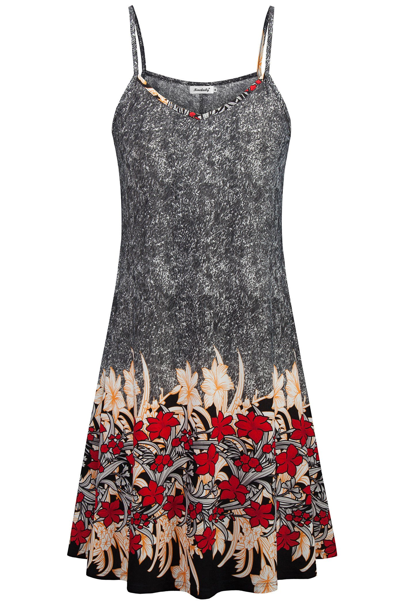 Ninedaily Summer Floral Printed Dresses, Elegant Spaghetti Straps A Line Casual Beach Party Classic Vintage Pattern Flowy Swing Dresses Grey Red XL(US16-18)