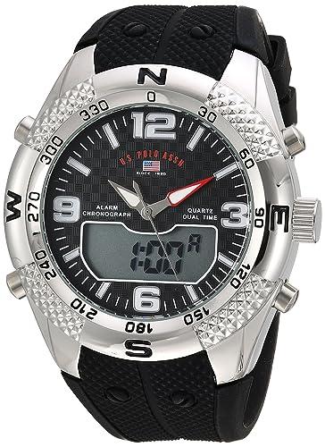 U.S. Polo Assn. Mens Analog-Quartz Watch with Rubber Strap, Black, 26