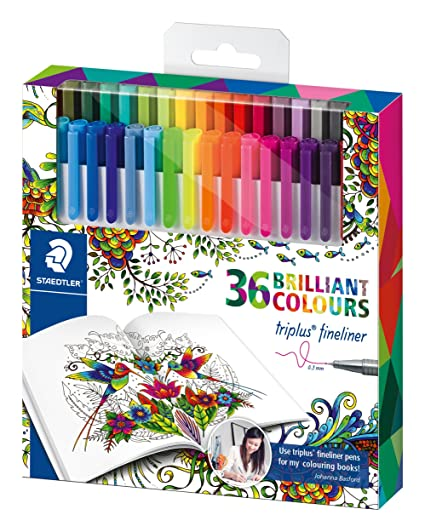 Staedtler Johanna Basford Triplus Fineliner Pens For Adult Coloring Books Set Of 36