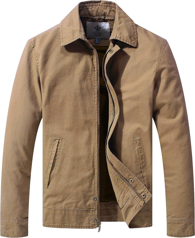 WenVen Men's Work Wear Casual Military Canvas Lapel Jacket (Regular & Big-Tall Sizes)