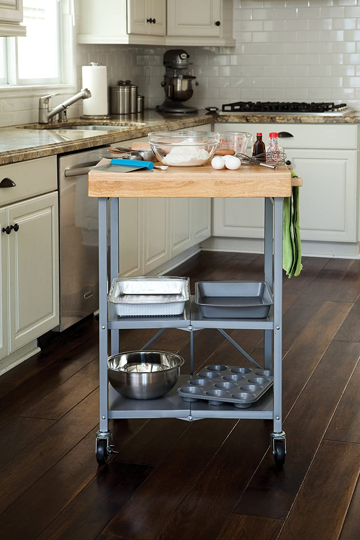 Kitchen Island Rolling Cart Portable Folding Storage Shelf Wood Butcher Block