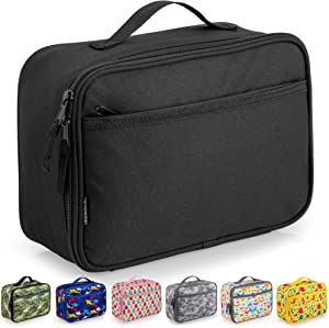 Zulay Insulated Lunch Bag - Thermal Kids Lunch Bag With Spacious Compartment & Built-In Handle - Portable Back To School Lunch Bag For Kids, Boys, & Girls To Keep Food Fresh (Black)