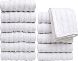 "Pleasant Home Washcloths Set - 12 Pack (12"" x 12"") – 488 GSM- 100% Ring Spun Cotton Wash Cloth - Super Soft and Highly Absorbent Face Towels (White, Striped Design)"