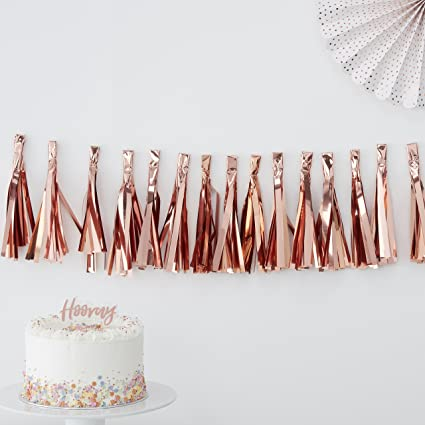 2 metre Pick /& Mix Ginger Ray Rose Gold Foiled Tassel Garland Party Decoration