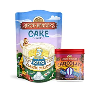 Birch Benders Keto Classic Yellow Cake Mix, 10.9oz and Keto Chocolate Frosting, 10oz, Bundle (1 baking mix and 1 frosting)