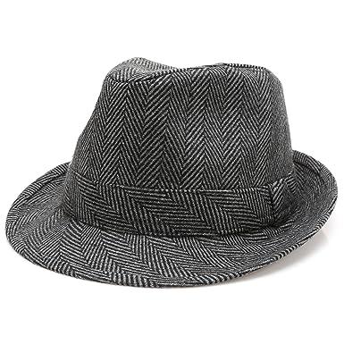 e003d0f55a0385 MIRMARU Men's Wool Blend Short Brim Trilby Fedora Hat with Band(Herringbone  Charcoal,SM