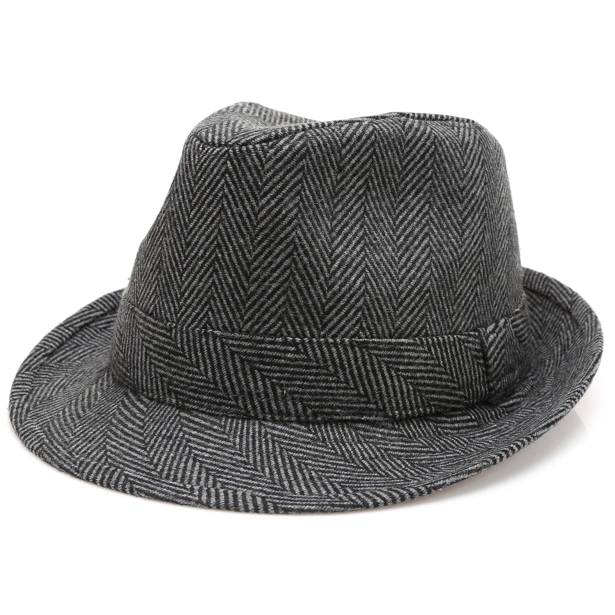 MIRMARU Men's Wool Blend Short Brim Trilby Fedora Hat with Band(Herringbone Charcoal,LXL)