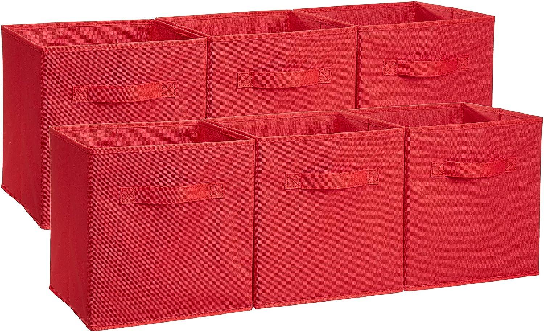 AmazonBasics Foldable Storage Cubes - 6-Pack, Beige AQ-NON006