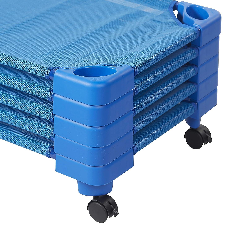 Blue 5-Pack Toddler Size ECR4Kids Stackable Assembled Kiddie Cot