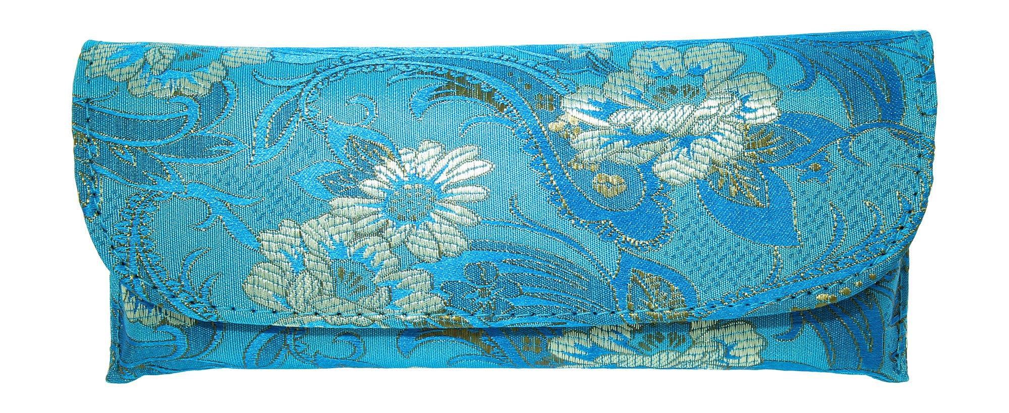 Beautiful Asian Silk Brocade Style Semi-Hard Eyeglass Case Front Closure Blue